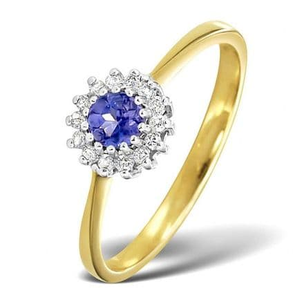 18K Gold 0.07ct Diamond & 3.5mm Tanzanite Ring, DCR06-T
