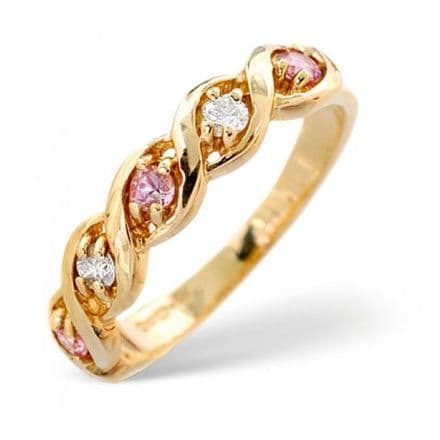 18K Gold 0.08ct Diamond & 2.25mm x 2.25mm Pink Sapphire Ring, DCR18-PS