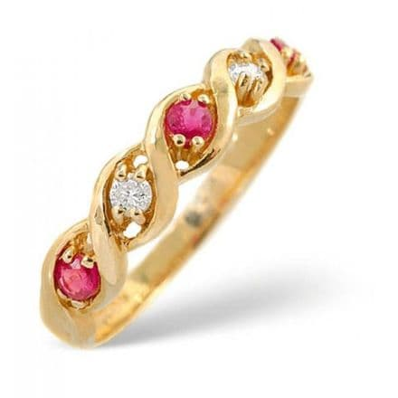 18K Gold 0.08ct Diamond & 2.25mm x 2.25mm Ruby Ring, DCR18-R