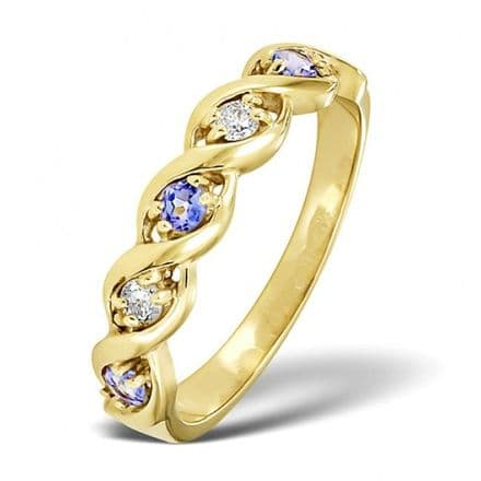 18K Gold 0.08ct Diamond & 2.25mm x 2.25mm Tanzanite Ring, DCR18-T