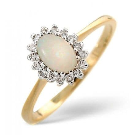 18K Gold 0.08ct Diamond & 6mm x 4mm Opal Ring, DCR08-O