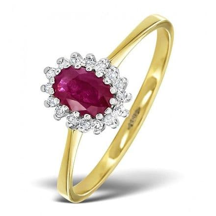 18K Gold 0.08ct Diamond & 6mm x 4mm Ruby Ring, DCR08-R