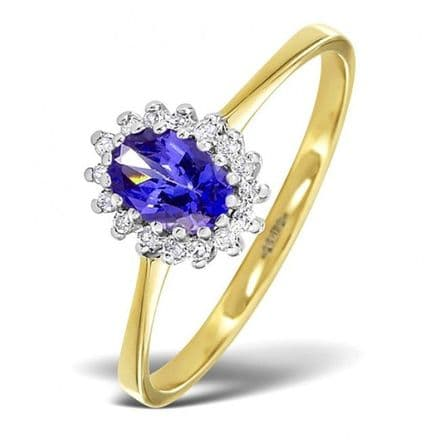 18K Gold 0.08ct Diamond & 6mm x 4mm Tanzanite Ring, DCR08-T