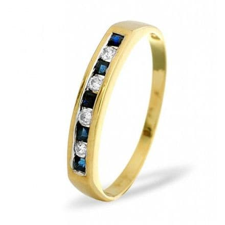 18K Gold 0.09ct H/si Diamond & 0.20ct Sapphire Ring, L2162