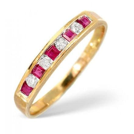 18K Gold 0.09ct H/si Diamond & Ruby Ring, L2164