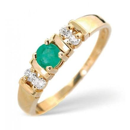18K Gold 0.10ct Diamond & 3.75mm Emerald Ring, DCR16-E