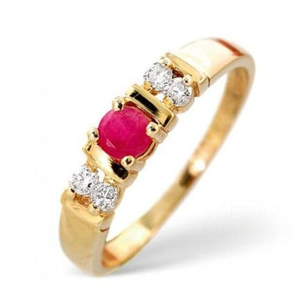 18K Gold 0.10ct Diamond & 3.75mm Ruby Ring, DCR16-R