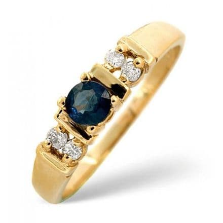 18K Gold 0.10ct Diamond & 3.75mm Sapphire Ring, DCR16-S