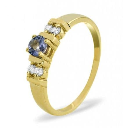 18K Gold 0.10ct Diamond & 3.75mm Tanzanite Ring, DCR16-T