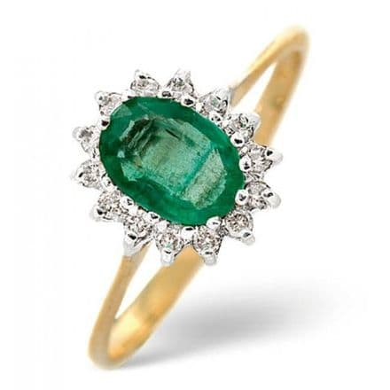 18K Gold 0.14ct Diamond & 0.83ct Emerald Ring, L2175