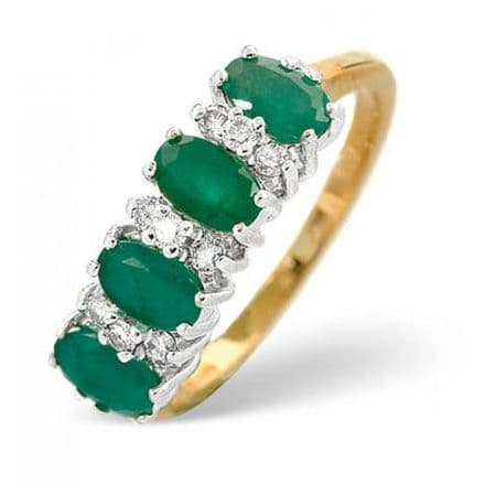 18K Gold 0.14ct Diamond & 0.94ct Emerald Ring, DCR17-E