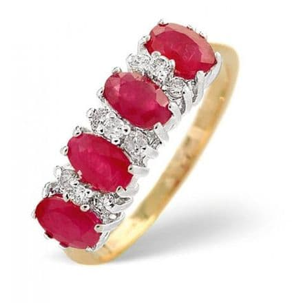 18K Gold 0.14ct Diamond & 1.12ct Ruby Ring, DCR17-R