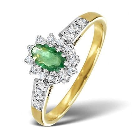 18K Gold 0.14ct Diamond & 5mm x 3mm Emerald Ring, DCR10-E