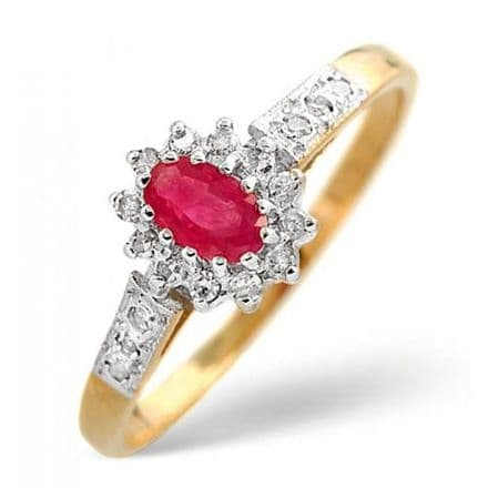 18K Gold 0.14ct Diamond & 5mm x 3mm Ruby Ring, DCR10-R