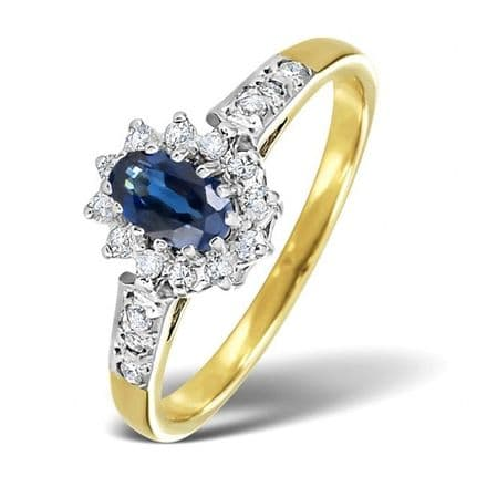 18K Gold 0.14ct Diamond & 5mm x 3mm Sapphire Ring , DCR10-S