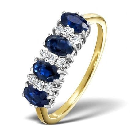 18K Gold 0.14ct Diamond & 5mm x 3mm Sapphire Ring , DCR17-S