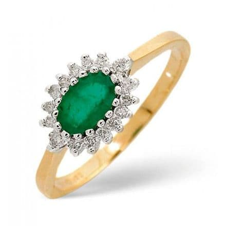18K Gold 0.14ct Diamond & 6mm x 4mm Emerald Ring, DCR09-E
