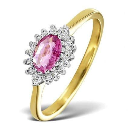 18K Gold 0.14ct Diamond & 6mm x 4mm Pink Sapphire Ring, DCR09-PS