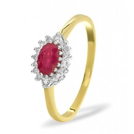 18K Gold 0.14ct Diamond & 6mm x 4mm Ruby Ring, DCR09-R