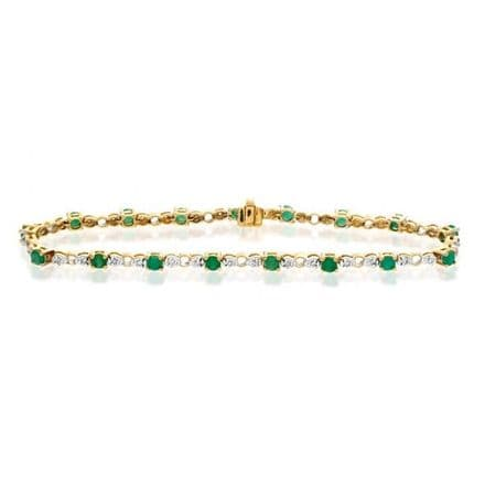 18K Gold 0.17ct Diamond & Emerald Bracelet, H1127