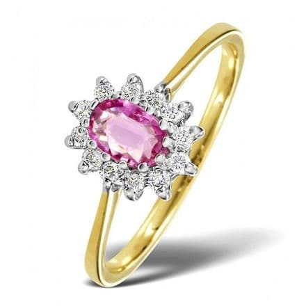 18K Gold 0.18ct Diamond & 6mm x 4mm Pink Sapphire Ring, DCR11-PS