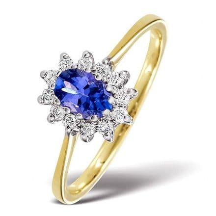 18K Gold 0.18ct Diamond & 6mm x 4mm Tanzanite Ring, DCR11-T