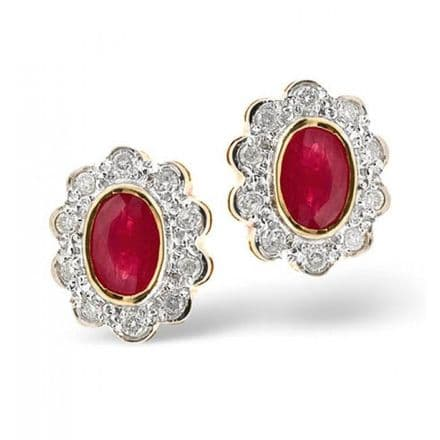 18K Gold 0.20ct Diamond & 6mm x 4mm Ruby Earrings, DCE06-R