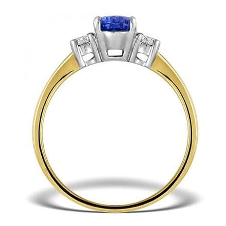 18K Gold 0.20ct Diamond & 7mm x 5mm Tanzanite Ring, L2195