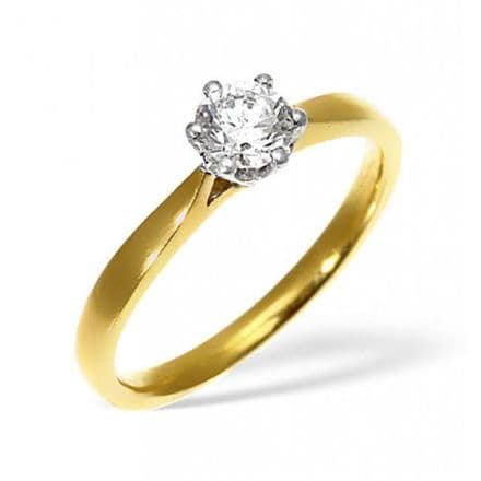 18K Gold 0.25ct Diamond Solitaire Ring, SR01-25PKY