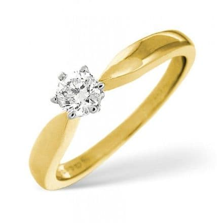18K Gold 0.25ct Diamond Solitaire Ring, SR03-25PKY