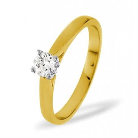 18K Gold 0.25ct Diamond Solitaire Ring, SR04-25PKY