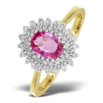 18K Gold 0.30ct Diamond & 7mm x 5mm Pink Sapphire Ring, DCR13-PS