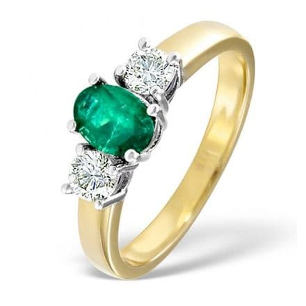 18K Gold 0.50ct H/si Diamond & 0.70ct Emerald Ring , DCR01-E