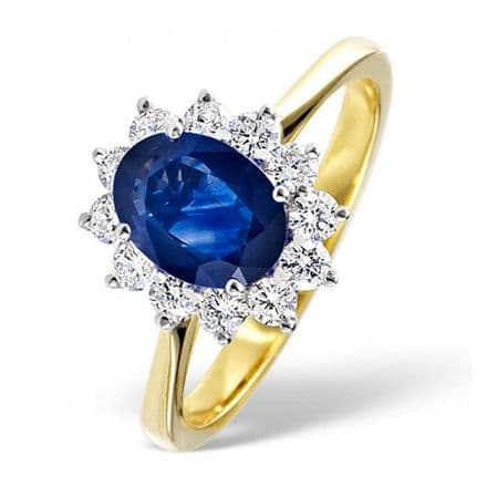 18K Gold 0.50ct H/si Diamond & 0.80ct Sapphire Ring, DCR03-S