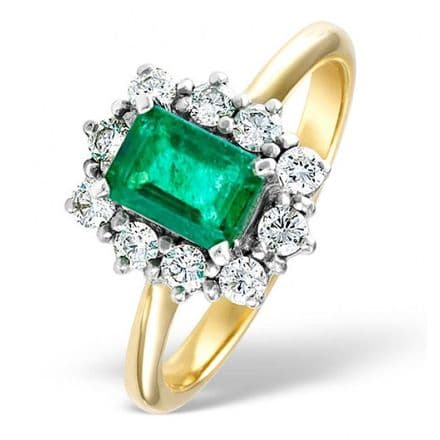 18K Gold 0.50ct H/si Diamond & 1.00ct Emerald Ring, DCR02-E