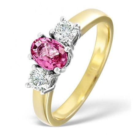 18K Gold 0.50ct H/si Diamond & 1.00ct Pink Sapphire Ring, DCR01-PS