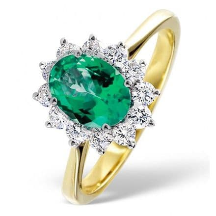 18K Gold 0.50ct H/si Diamond & 1.15ct Emerald Ring, DCR04-E