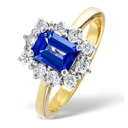 18K Gold 0.50ct H/si Diamond & 7mm x 5mm Tanzanite Ring, DCR02-T