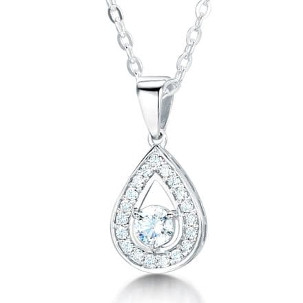 18ct White Gold  G, VS  Diamond pendant stone set pear shape with round stone in centre