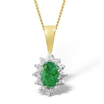 18K Gold 0.04ct Diamond & 6mm x 4mm Emerald Pendant, DCP03-E