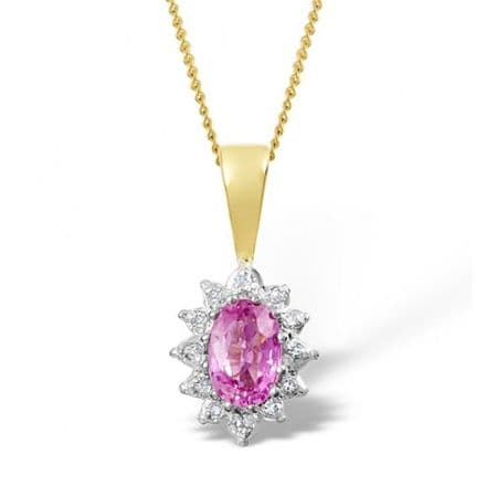 18K Gold 0.04ct Diamond & 6mm x 4mm Pink Sapphire Pendant, DCP03-PS