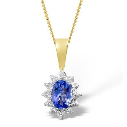 18K Gold 0.04ct Diamond & 6mm x 4mm Tanzanite Pendant, DCP03-T