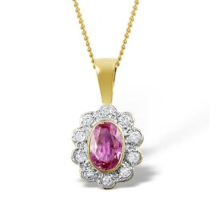 18K Gold 0.10ct Diamond & 6mm x 4mm Pink Sapphire Pendant, DCP04-PS