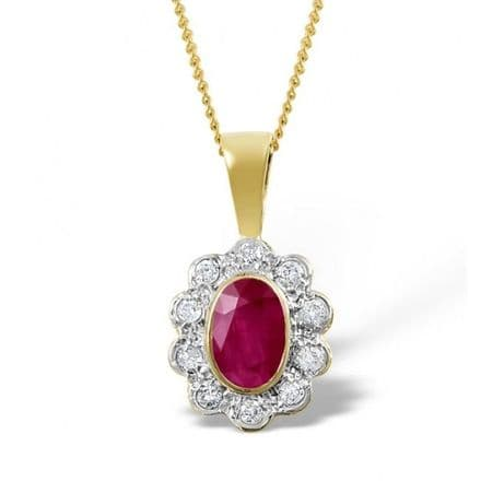 18K Gold 0.10ct Diamond & 6mm x 4mm Ruby Pendant, DCP04-R