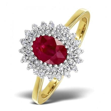 18K Gold 0.30ct Diamond & 7mm x 5mm Ruby Ring, DCR13-R