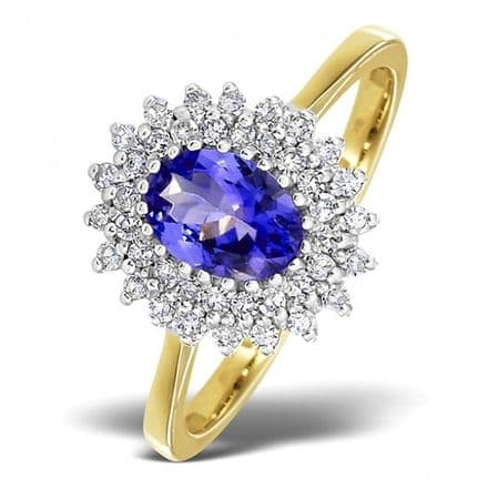 18K Gold 0.30ct Diamond & 7mm x 5mm Tanzanite Ring, DCR13-T