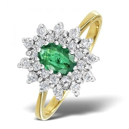18K Gold 0.36ct Diamond & 6mm x 4mm Emerald Ring, DCR12-E