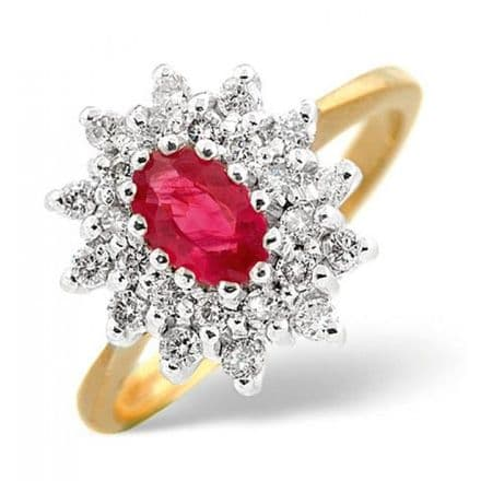 18K Gold 0.36ct Diamond & 6mm x 4mm Ruby Ring, DCR12-R