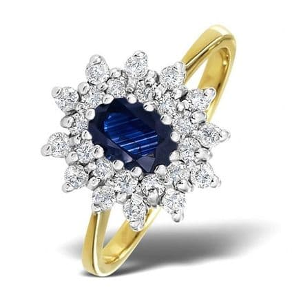 18K Gold 0.36ct Diamond & 6mm x 4mm Sapphire Ring, DCR12-S