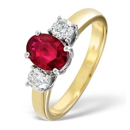 18K Gold 0.50ct H/si Diamond & 1.15ct Ruby Ring, DCR01-R